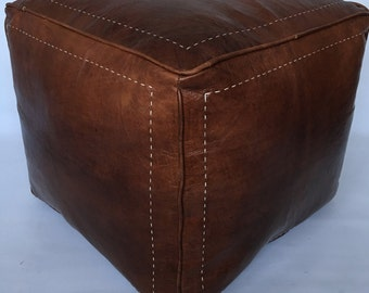 Moroccan Contemporary design,  100% Leather, Hand Stitched Square Large Pouffe Mahoney  UNSTUFFED