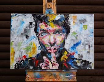 "David Bowie, Original Painting, 30"", 38"", Art, Music, Palette Knife, Rock n Roll, Pop Art, Worldwide Shipping, Richard Day"