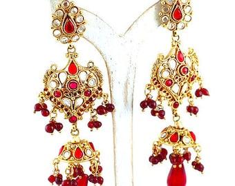 Red & Gold Chandelier Statement Earrings