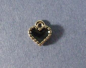 10 Tiny Black Heart Charms - Heart Pendants - Heart Charm - Heart Pendant - Love - Red Heart - Enamel C-harm - 8mm x 8mm -- (C2-12196)