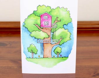 Treehouse 6 Illustration A6 Notecard with Envelope