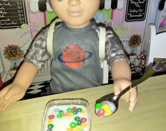 """Fruit Loops fit American girl 18"""" Dolls, Doll Food, Breakfast for Dolls, Doll Cereal"""