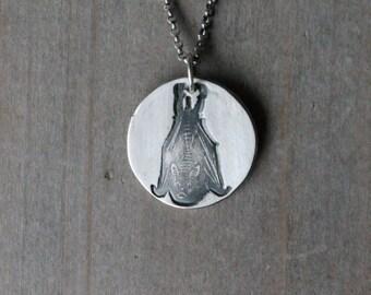 Bat fine silver pendant