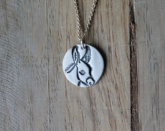 Donkey fine silver pendant