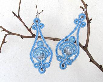 Silver blue earrings Long dangle earrings Soutache Sparkly earrings Spring wedding blue jewelry Bridesmaid earrings Wedding gift for mom