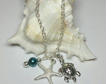 SALE, Girls Beach Necklace, Silver Starfish Turtle Chain Necklace, Kids Costume Jewellery, Sealife Pendant Necklace, Gift for Kids