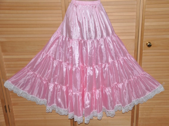 Baby pink gypsy styled petticoat, flowing silky softness for girly dressing up fun, Sissy Lingerie