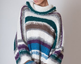 Oversized long sweater made by alpaca wool, soft pullover with long puffy sleeves, multicolor knit, cowl neck, womens knitwear, merino wool