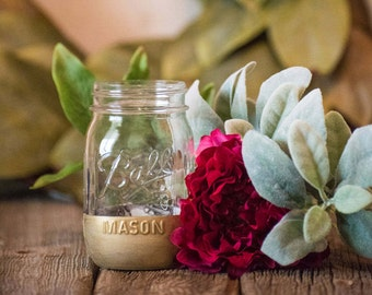 Gold Centerpiece Decor Birthday Party Wedding Mason Jar Vase Rustic Dorm Room