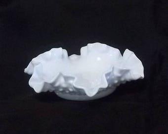 Fenton Milk Glass Hobnail Bon Bon Bowls Double Crimped Edges Beautiful!!!
