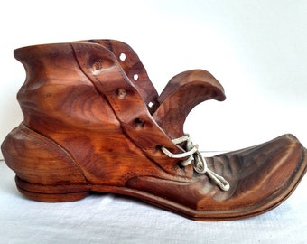 Vintage Hand Carved Wooden Shoe Signed The Whittlers 70, Wood Boot, Hobo Boot