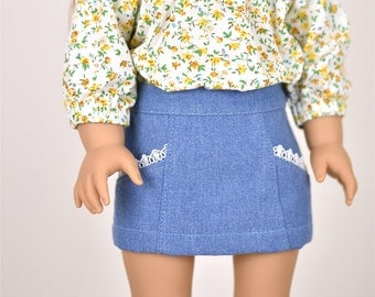 Denim Mini Skirt Washed Blue Color 18 inch doll clothes