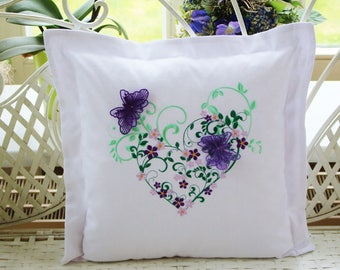 Pillowcase flowers heart