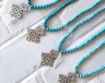 Turquoise Ethiopian Cross Necklace