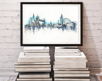 London Skyline Painting, Original Watercolor Travel Illustration, Art Print, Modern Wall art Home Decor Handmade Holiday Gift