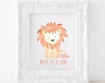 Lion Printable Lion Print, Lion nursery print, Lion nursery decor, Lion nursery printable, Brave as a lion Print, Brave as a lion printable