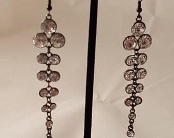 Black & Crystal Dangle Earrings - Crystal Earrings - Dangle Earrings - Black Earrings - Clear Crystal Earrings - Women's Earrings - Crystal