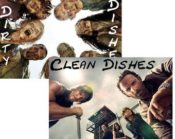 "Walking Dead Reversible Magnetic Dishwasher Sign | Geek Kitchen | Clean Dirty  Magnet | ""Clean"" humans ""Dirty"" walkers