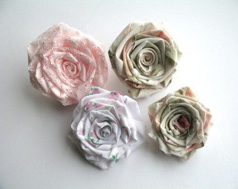 Handmade Shabby Chic Roses For Embelllishment, Vintage Fabric Lace Roses, Shabby Chic Supplies