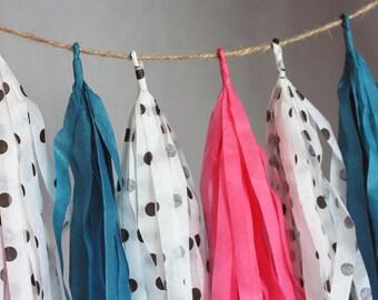 Fun Polka Dots Tissue Paper Tassel Garland, Cute Nursery Tassel Garland, Gender Reveal Decor,