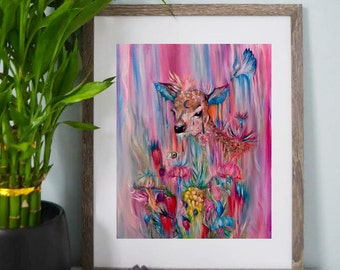 Woodland Deer - Abstract, Psychedelic, Colorful Artwork - Art Prints - Wall Art - Posters
