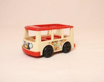 Fisher price game, children toy car, minibus vintage, vintage game, vintage fisher price, fisher price mini bus