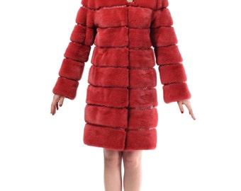Red Winter Fur Coat,Warm Fur Coat F481