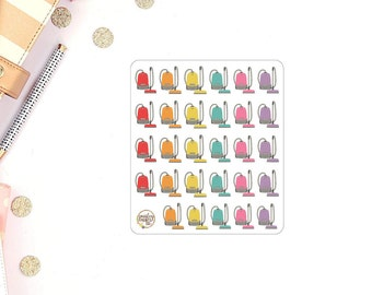 Vacuum Cleaning Rainbow Planner Stickers