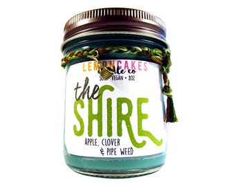 The Shire - Book Candle - Literature Gift - 8oz Soy Candle - LemonCakes Candle Co - Apple, Clover, and Pipe Weed