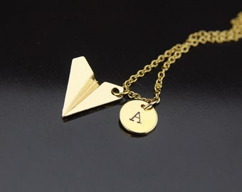 Gold Paper Airplane Charm Necklace, Origami Airplane Charm, Airplane Necklace, Personalized Necklace, Initial Necklace, Customized