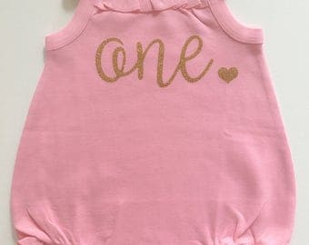 First Birthday Outfit // Pink and Gold Bubble Outfit // Pink and Gold First Birthday Outfit// Cake Smash Outfit // First Birthday Onesie