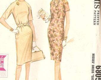 """McCall's 6805 Misses' 60's Sheath Dress - Sewing Pattern - Size 12 Bust 32"""" - UNCUT & FACTORY FOLDED"""