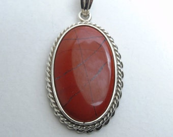 925 Silver Pendant with red Jasper. Sicilian style artisan jewelry