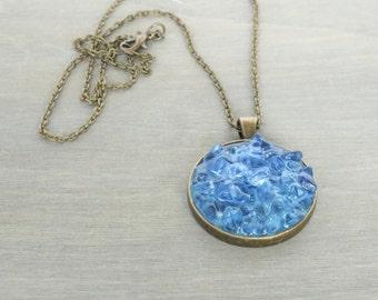Blue Pendant Necklace - Aqua Pendant, Beach Pendant, Bronze Pendant Necklace, Beach Jewelry, Beach Necklace, Cluster Pendant, Bronze Jewelry