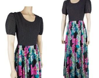 Vintage 70s Long Maxi Dress Black White Polka Dot with Floral Flowery Gathered Skirt UK 10