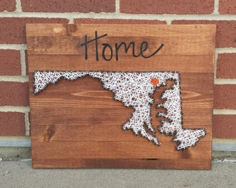 Maryland string art home state sign
