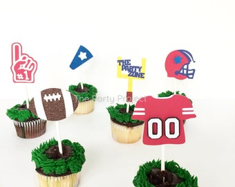12 Football cupcake toppers | Super Bowl cupcake picks | NFL birthday party decor | Sports themed party | Football season - Superbowl party!