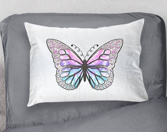 Butterfly Pillowcase, Butterfly Bedroom, Butterfly Bedding, Butterfly Gift Idea, Bug Pillowcase, Monarch Butterfly Pillowcase