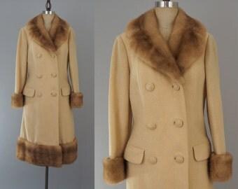 "1950s Vintage Camel Blonde Mink Trimmed Wool Coat / Mink Trim Collar Cuff Dress Overcoat Winter Coat / Size Small - Medium S-M 36"" Bust"