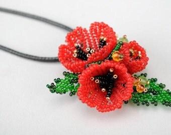 Red poppy pendant Beaded brooch Flower jewelry