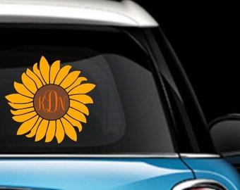 Sunflower Monogram Car Decal