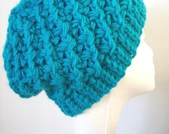 Slouchy beanie hat turquoise blue hat soft warm knitted hat
