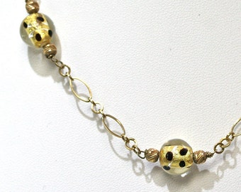 14KT Yellow Gold Necklace With Glass Beads Bumble Bee Yellow