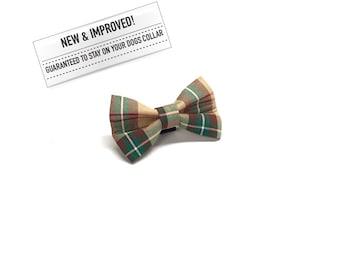 Vintage Plaid Dog Bow Tie, Beige Brown Green Plaid Dog Bowtie, Plaid Dog Bowtie