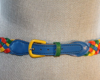 Vintage Leather Braided Belt - Rainbow Belt - 1980's Fashion - Free Shipping Within Canada and the USA