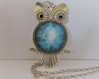 Glass Owl Pendant, Glass Photo Pendant, Owl Necklace, Owl Jewelry, Gift for Owl Lover, Wearable Art Pendant, Owl and Moon Necklace