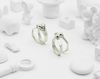 Together Apart (Sterling Silver 3D Printed Rabbit Ring)