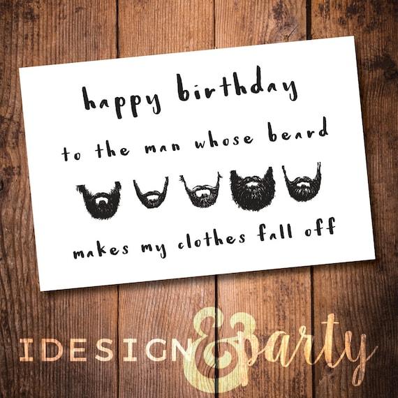 Funny Husband Birthday Card // Beard Boyfriend Birthday Card