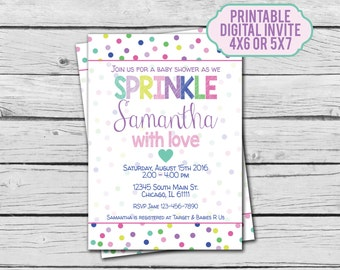 Sprinkle Baby Shower Invitation - Digital File