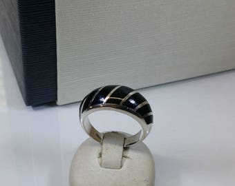17.4 mm ring 925 Silver Black Onyx vintage SR585